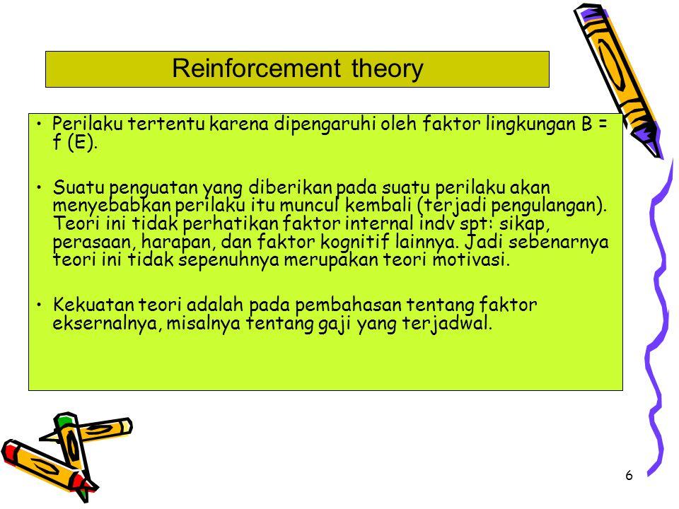 6 Perilaku tertentu karena dipengaruhi oleh faktor lingkungan B = f (E). Suatu penguatan yang diberikan pada suatu perilaku akan menyebabkan perilaku