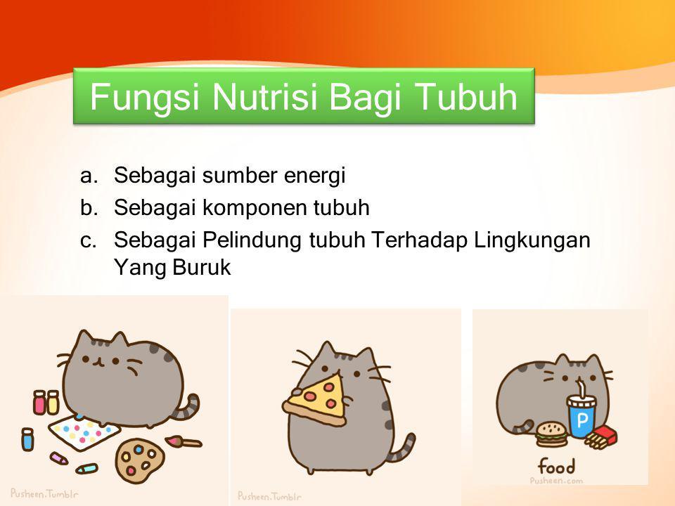 a.Sebagai sumber energi b.Sebagai komponen tubuh c.Sebagai Pelindung tubuh Terhadap Lingkungan Yang Buruk Fungsi Nutrisi Bagi Tubuh