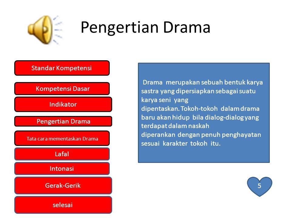 INDIKATOR 1.Mementaskan drama dengan menggunakan intonasi dan lafal yang tepat.
