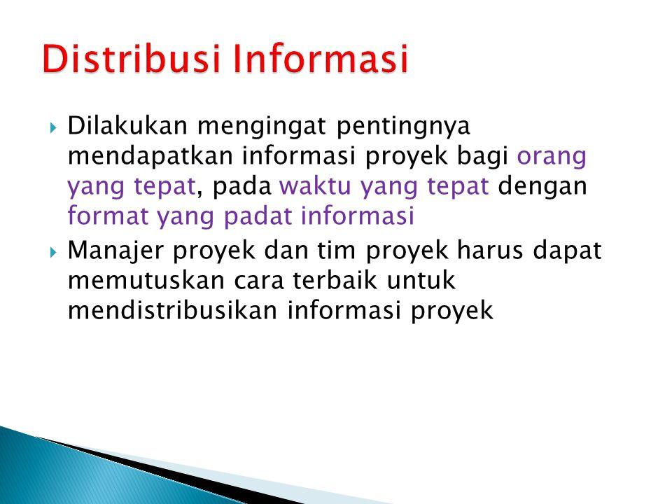 Dilakukan mengingat pentingnya mendapatkan informasi proyek bagi orang yang tepat, pada waktu yang tepat dengan format yang padat informasi  Manaje