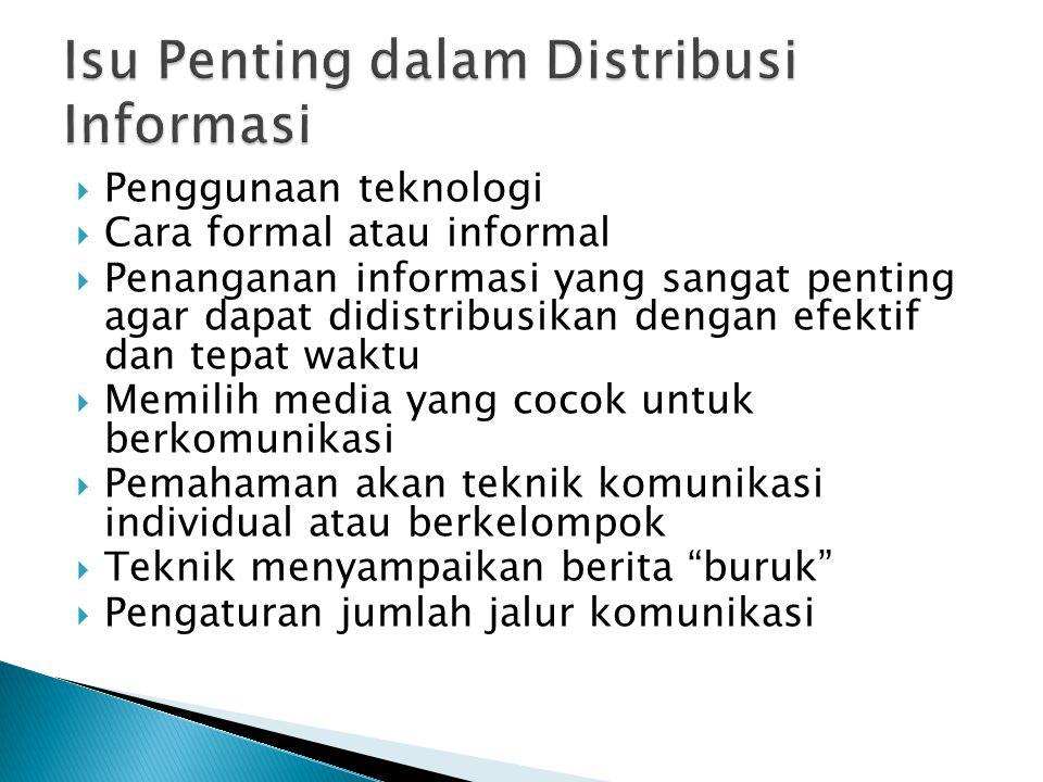  Penggunaan teknologi  Cara formal atau informal  Penanganan informasi yang sangat penting agar dapat didistribusikan dengan efektif dan tepat wakt