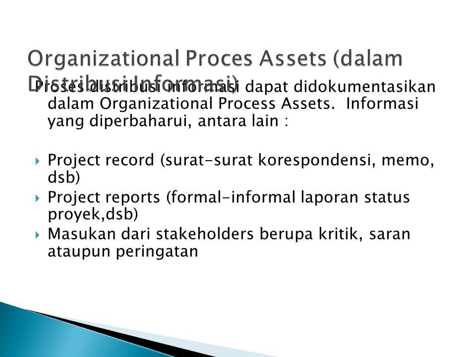 Proses distribusi informasi dapat didokumentasikan dalam Organizational Process Assets. Informasi yang diperbaharui, antara lain :  Project record (s