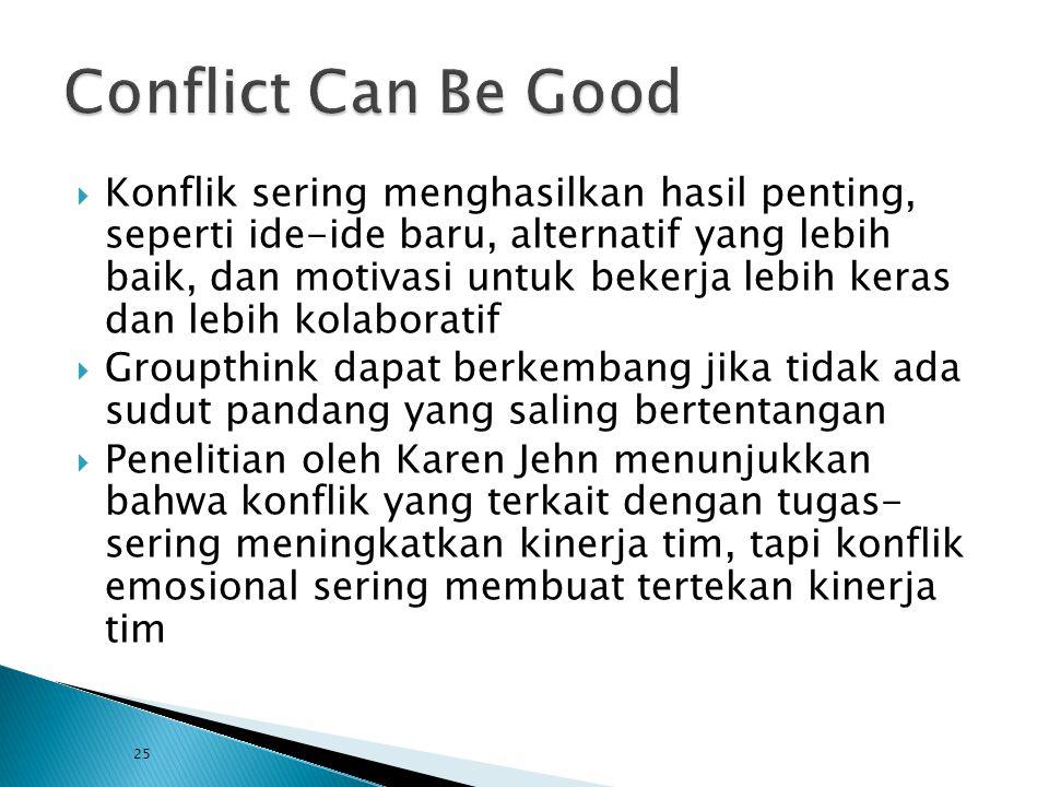  Konflik sering menghasilkan hasil penting, seperti ide-ide baru, alternatif yang lebih baik, dan motivasi untuk bekerja lebih keras dan lebih kolabo