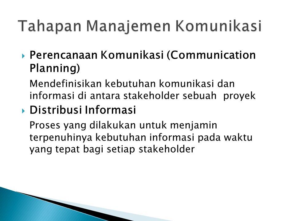 Perencanaan Komunikasi (Communication Planning) Mendefinisikan kebutuhan komunikasi dan informasi di antara stakeholder sebuah proyek  Distribusi I