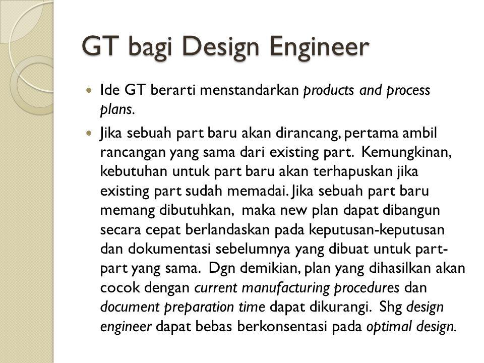 GT bagi Design Engineer Ide GT berarti menstandarkan products and process plans. Jika sebuah part baru akan dirancang, pertama ambil rancangan yang sa