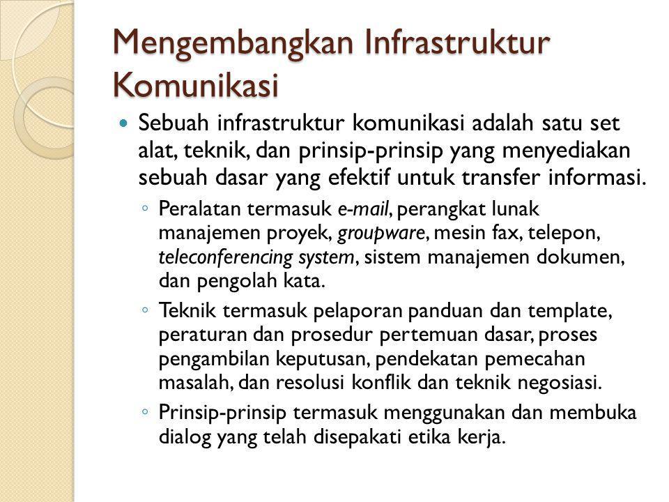Saran dalam Manajemen Komunikasi Proyek IT Gunakan keterampilan berkomunikasi (khususnya dalam menangani konflik) Selalu berusaha untuk mengembangkan keterampilan berkomunikasi Lakukan rapat dengan efektif Gunakan e-mail secara efektif Gunakan template dalam komunikasi proyek Bangun infrastruktur komunikasi