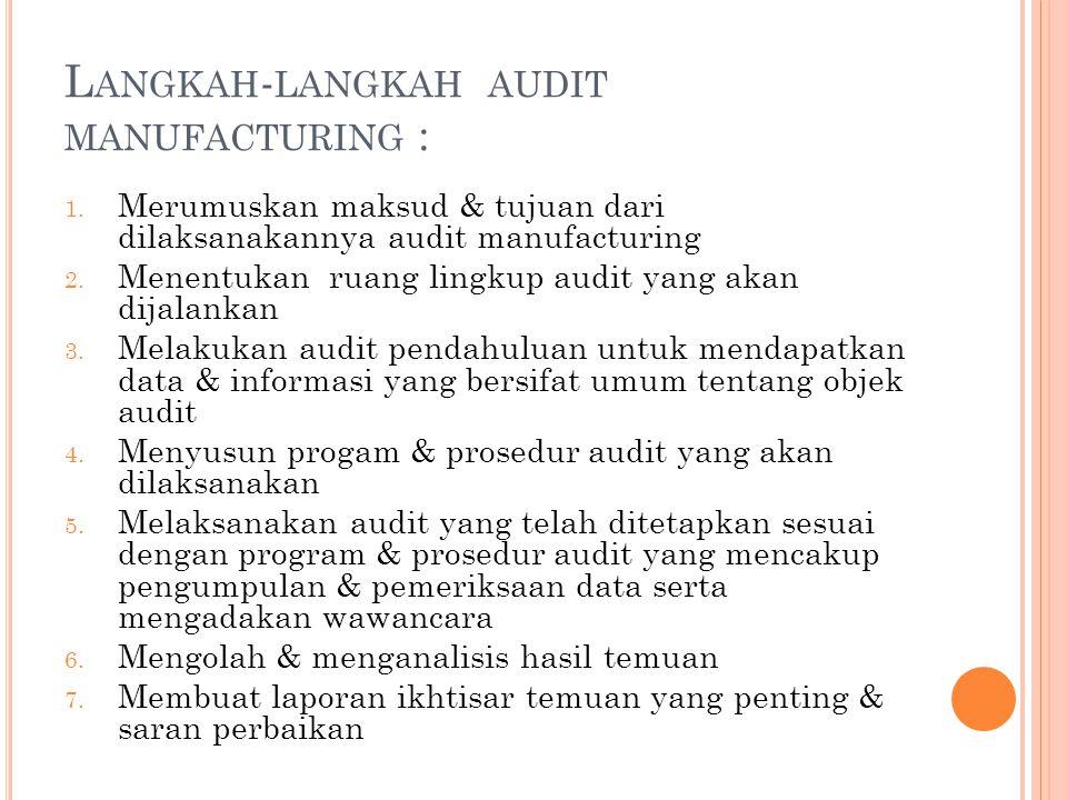 L ANGKAH - LANGKAH AUDIT MANUFACTURING : 1. Merumuskan maksud & tujuan dari dilaksanakannya audit manufacturing 2. Menentukan ruang lingkup audit yang