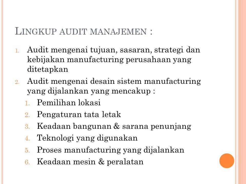 L INGKUP AUDIT MANAJEMEN : 1. Audit mengenai tujuan, sasaran, strategi dan kebijakan manufacturing perusahaan yang ditetapkan 2. Audit mengenai desain