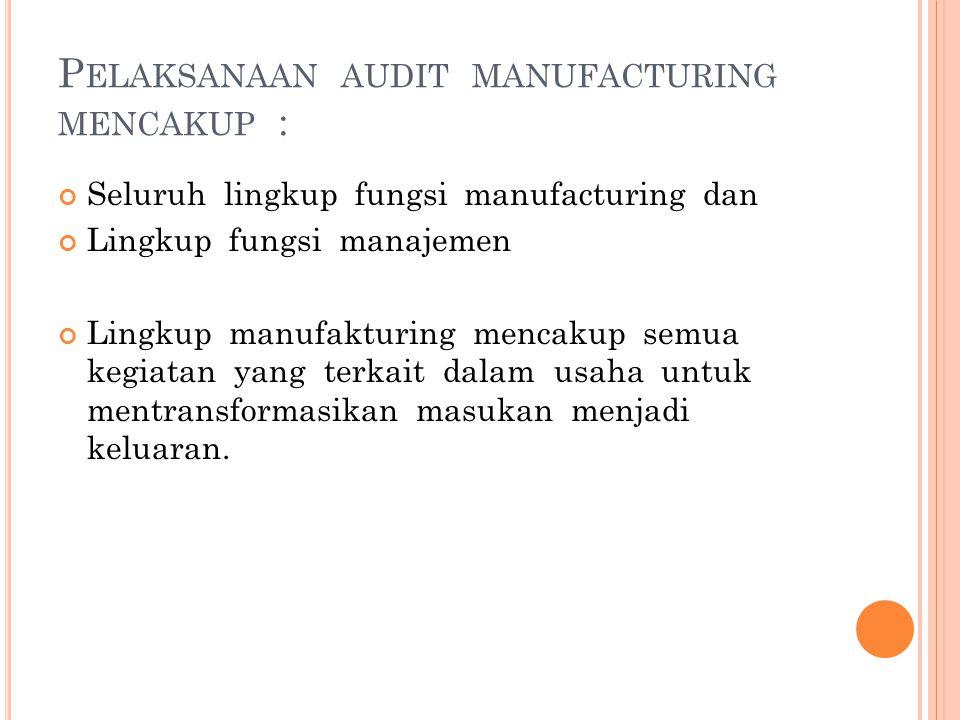 P ELAKSANAAN AUDIT MANUFACTURING MENCAKUP : Seluruh lingkup fungsi manufacturing dan Lingkup fungsi manajemen Lingkup manufakturing mencakup semua keg