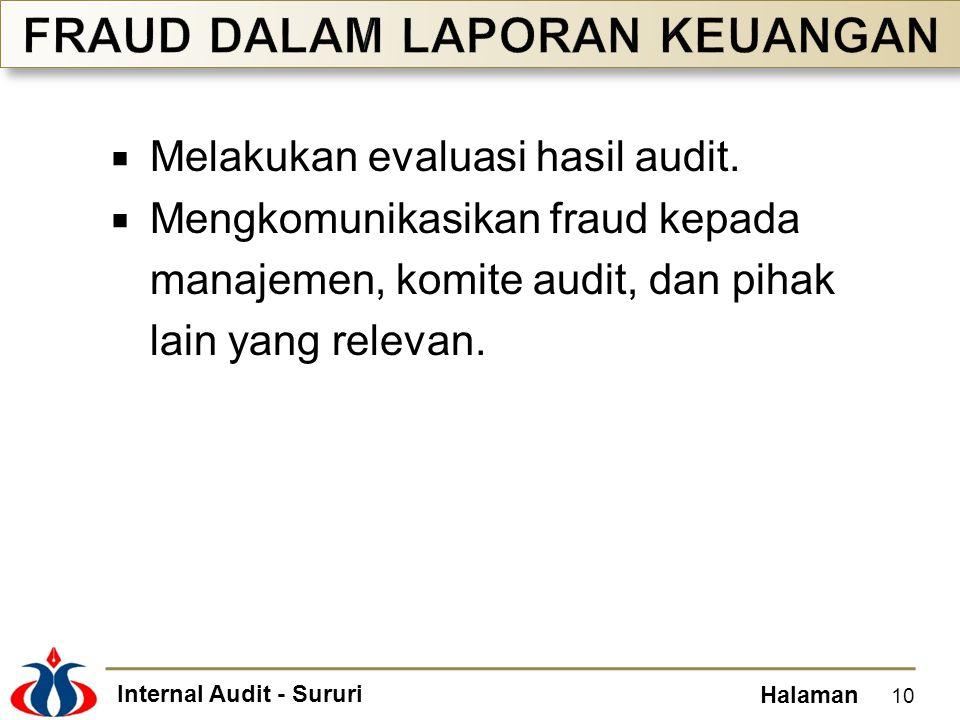 Internal Audit - Sururi Halaman  Melakukan evaluasi hasil audit.  Mengkomunikasikan fraud kepada manajemen, komite audit, dan pihak lain yang releva