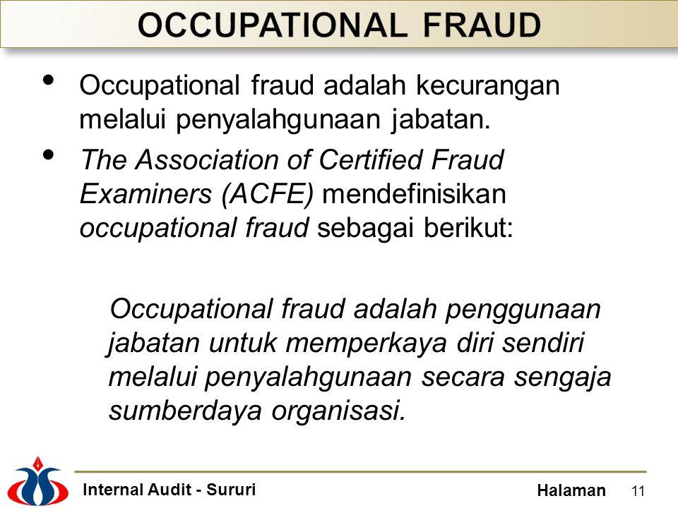 Internal Audit - Sururi Halaman Occupational fraud adalah kecurangan melalui penyalahgunaan jabatan. The Association of Certified Fraud Examiners (ACF