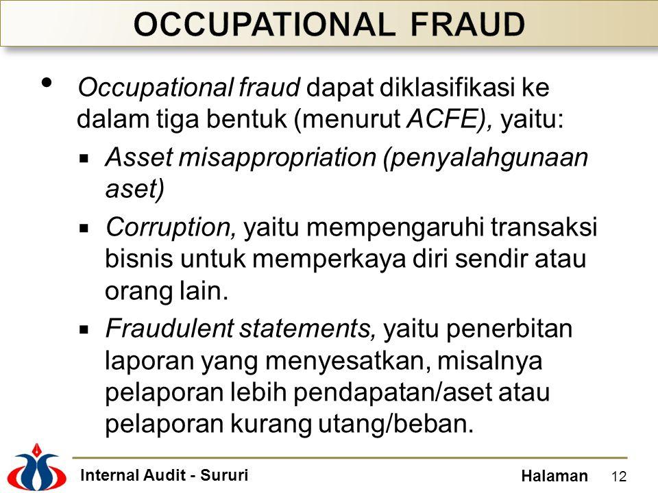 Internal Audit - Sururi Halaman Occupational fraud dapat diklasifikasi ke dalam tiga bentuk (menurut ACFE), yaitu:  Asset misappropriation (penyalahgunaan aset)  Corruption, yaitu mempengaruhi transaksi bisnis untuk memperkaya diri sendir atau orang lain.