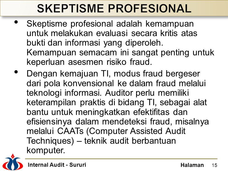 Internal Audit - Sururi Halaman Skeptisme profesional adalah kemampuan untuk melakukan evaluasi secara kritis atas bukti dan informasi yang diperoleh.