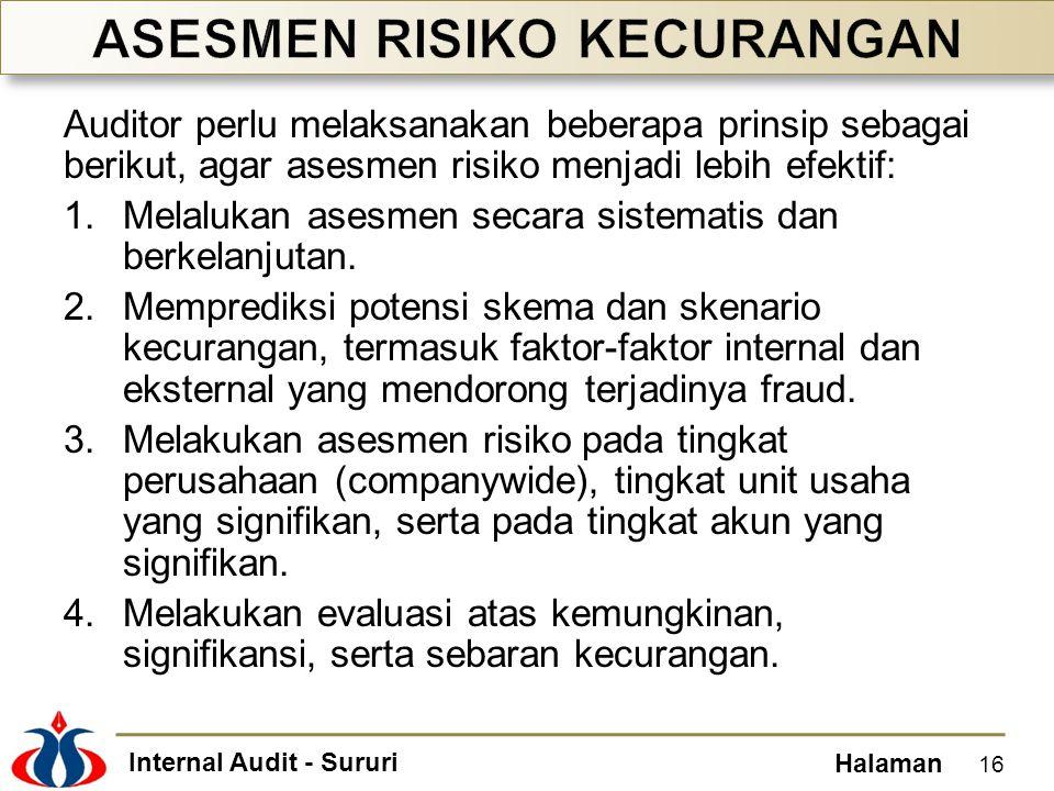 Internal Audit - Sururi Halaman Auditor perlu melaksanakan beberapa prinsip sebagai berikut, agar asesmen risiko menjadi lebih efektif: 1.Melalukan asesmen secara sistematis dan berkelanjutan.
