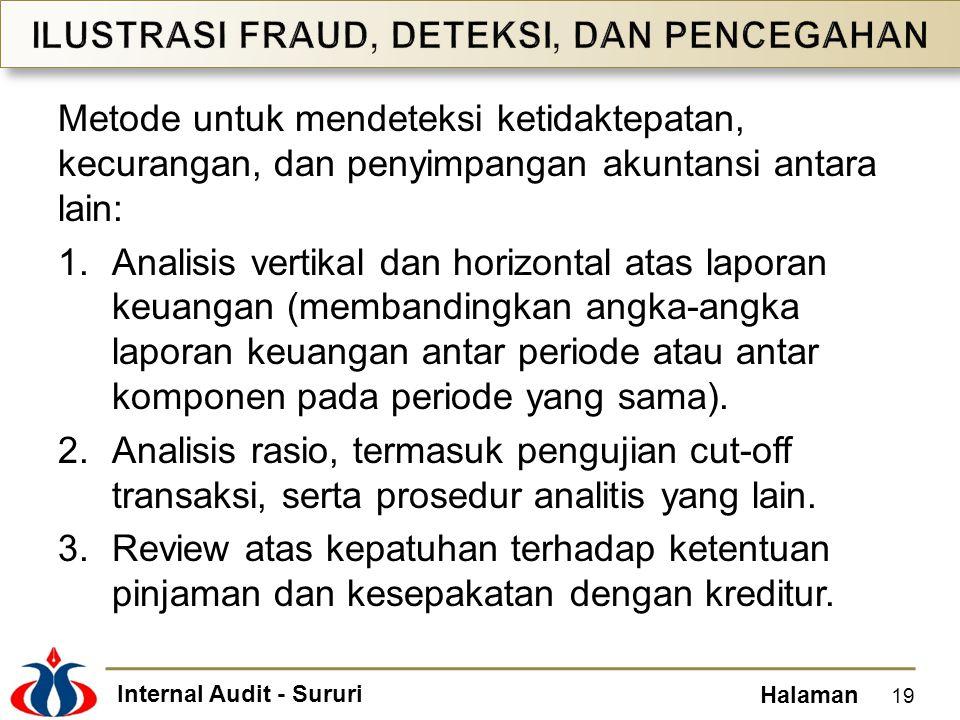 Internal Audit - Sururi Halaman Metode untuk mendeteksi ketidaktepatan, kecurangan, dan penyimpangan akuntansi antara lain: 1.Analisis vertikal dan ho