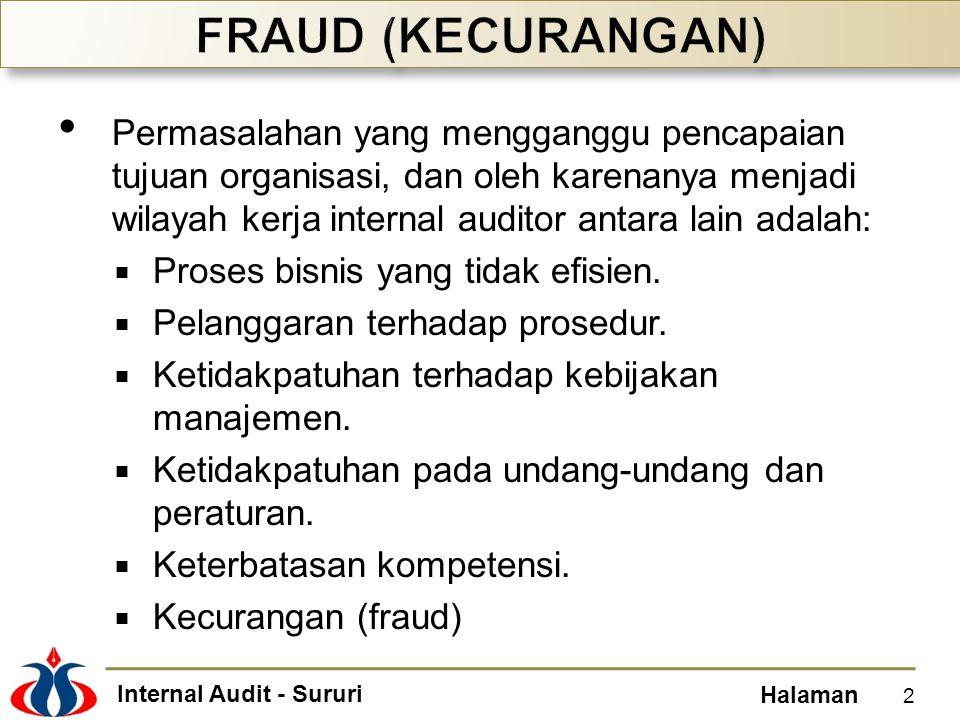 Internal Audit - Sururi Halaman Permasalahan yang mengganggu pencapaian tujuan organisasi, dan oleh karenanya menjadi wilayah kerja internal auditor a