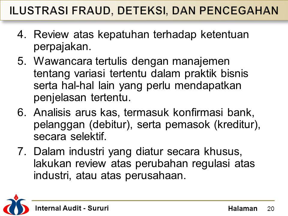 Internal Audit - Sururi Halaman 4.Review atas kepatuhan terhadap ketentuan perpajakan. 5.Wawancara tertulis dengan manajemen tentang variasi tertentu
