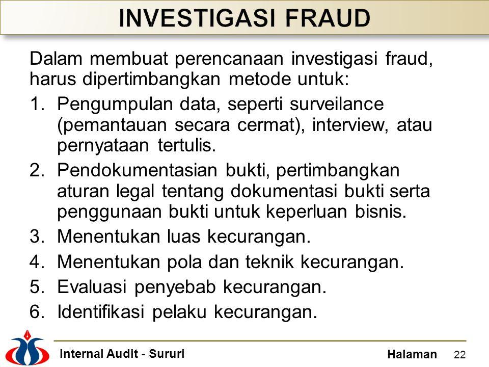 Internal Audit - Sururi Halaman Dalam membuat perencanaan investigasi fraud, harus dipertimbangkan metode untuk: 1.Pengumpulan data, seperti surveilance (pemantauan secara cermat), interview, atau pernyataan tertulis.