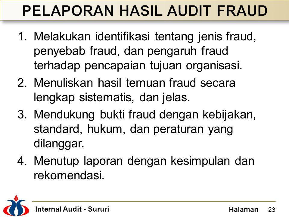 Internal Audit - Sururi Halaman 1.Melakukan identifikasi tentang jenis fraud, penyebab fraud, dan pengaruh fraud terhadap pencapaian tujuan organisasi.