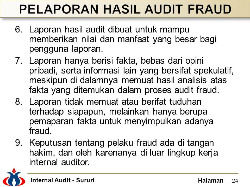 Internal Audit - Sururi Halaman 6.Laporan hasil audit dibuat untuk mampu memberikan nilai dan manfaat yang besar bagi pengguna laporan. 7.Laporan hany