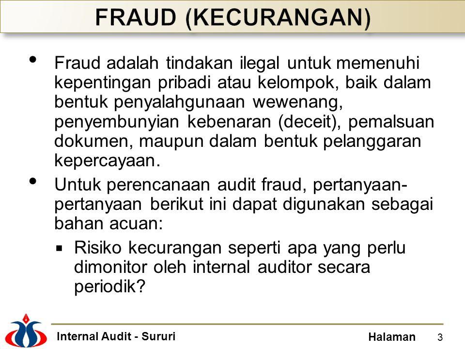 Internal Audit - Sururi Halaman Fraud adalah tindakan ilegal untuk memenuhi kepentingan pribadi atau kelompok, baik dalam bentuk penyalahgunaan wewenang, penyembunyian kebenaran (deceit), pemalsuan dokumen, maupun dalam bentuk pelanggaran kepercayaan.