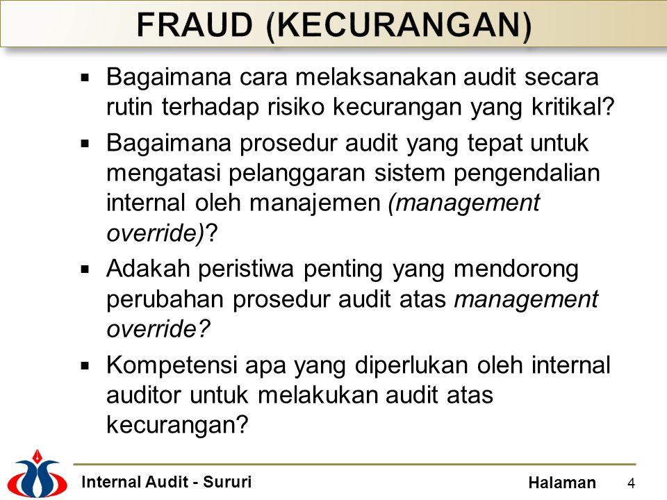Internal Audit - Sururi Halaman  Bagaimana cara melaksanakan audit secara rutin terhadap risiko kecurangan yang kritikal?  Bagaimana prosedur audit