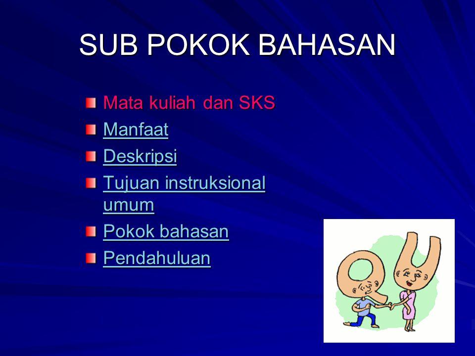 SUB POKOK BAHASAN Mata kuliah dan SKS Manfaat Deskripsi Tujuan instruksional umum Tujuan instruksional umum Pokok bahasan Pokok bahasan Pendahuluan