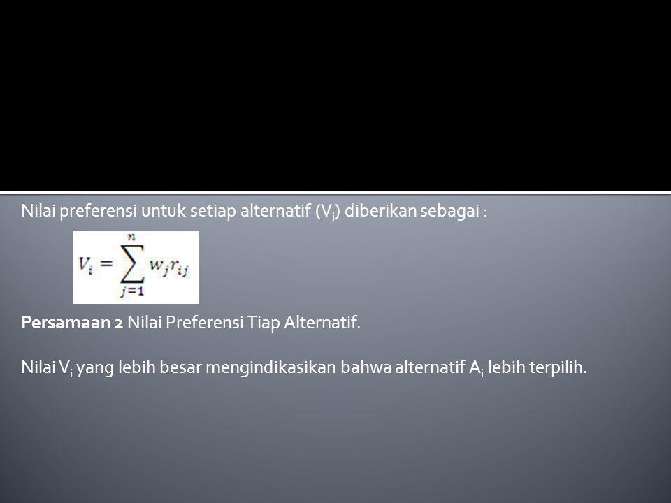 Nilai preferensi untuk setiap alternatif (V i ) diberikan sebagai : Persamaan 2 Nilai Preferensi Tiap Alternatif.