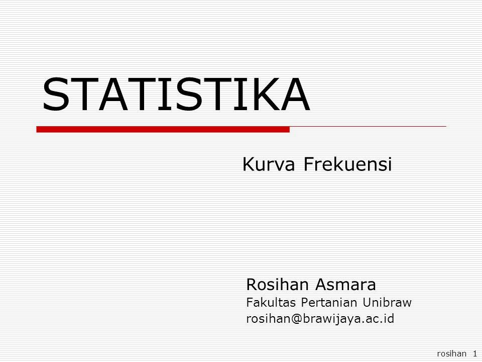 rosihan 1 STATISTIKA Rosihan Asmara Fakultas Pertanian Unibraw rosihan@brawijaya.ac.id Kurva Frekuensi