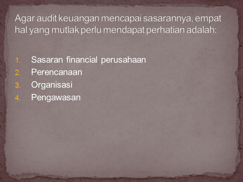 1. Sasaran financial perusahaan 2. Perencanaan 3. Organisasi 4. Pengawasan