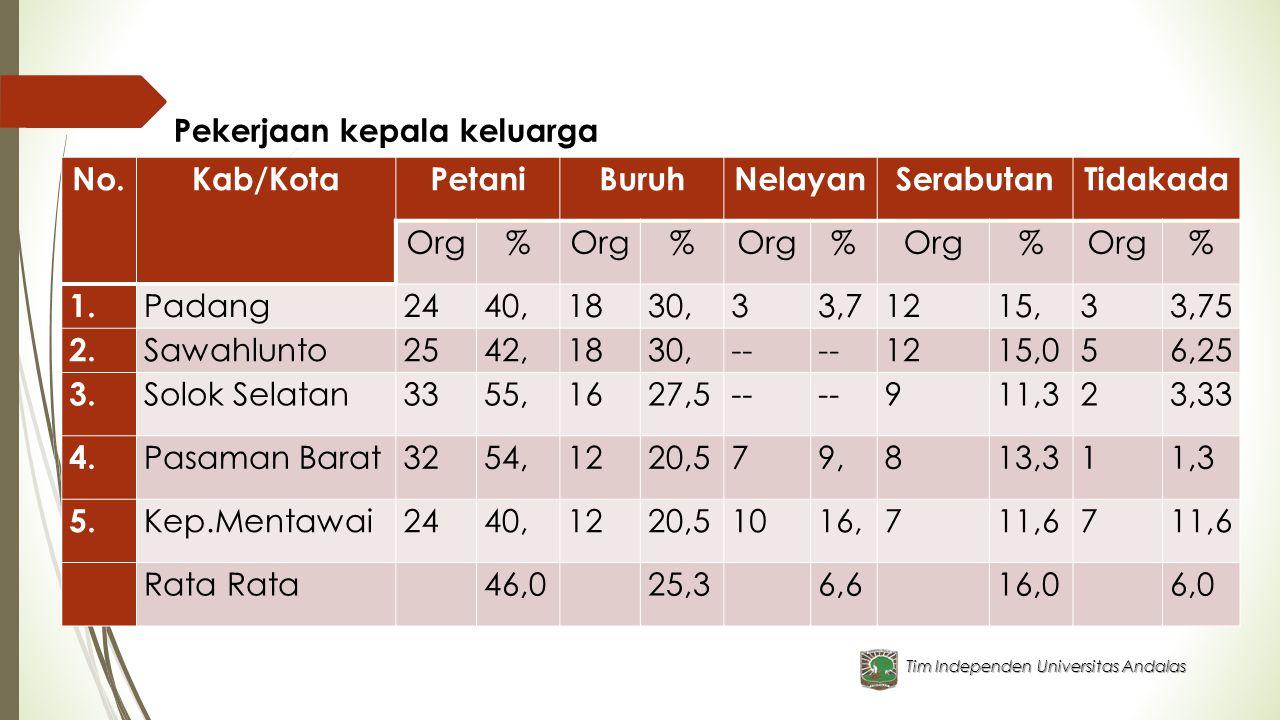 Tim Independen Universitas Andalas Pekerjaan kepala keluarga No.Kab/KotaPetaniBuruhNelayanSerabutanTidakada Org% % % % % 1. Padang2440,1830,33,71215,3
