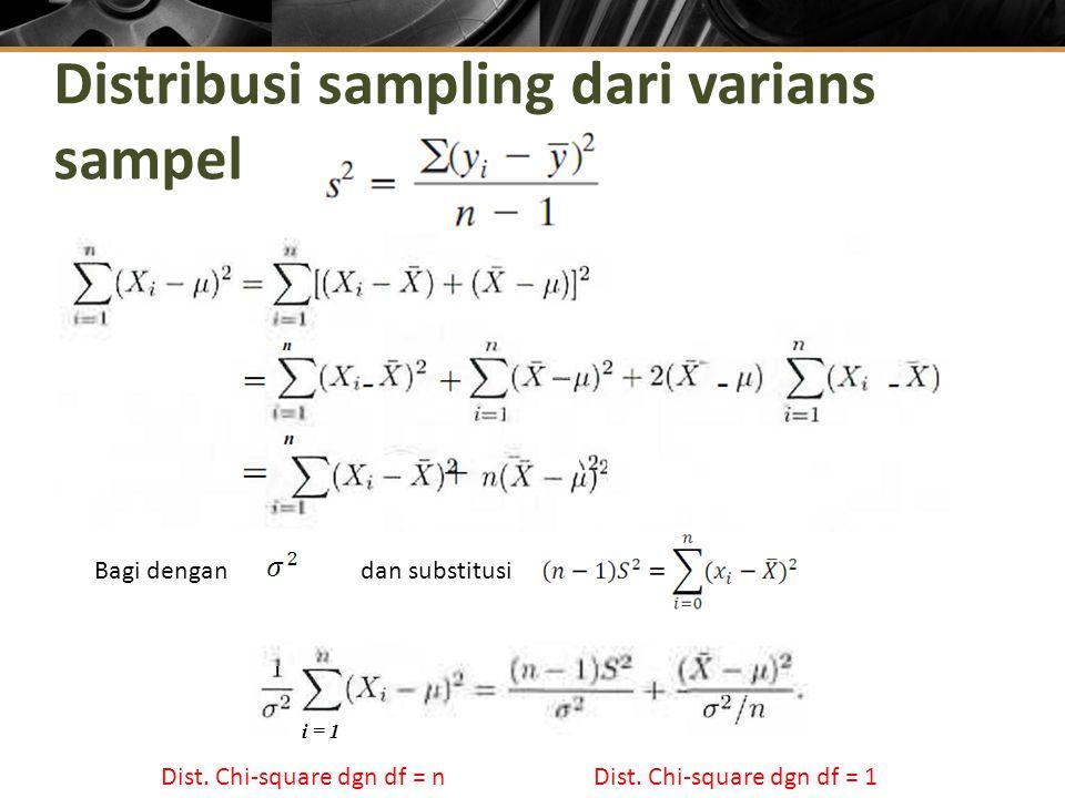 Distribusi sampling dari varians sampel i = 1 Bagi dengan dan substitusi Dist.
