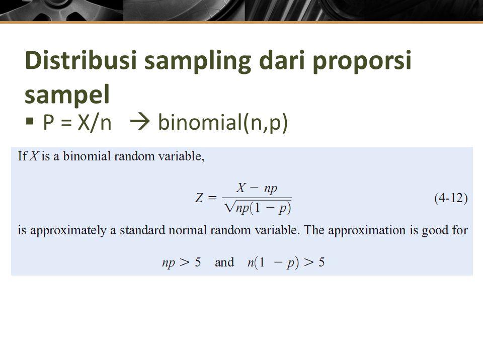 Distribusi sampling dari proporsi sampel  P = X/n  binomial(n,p)
