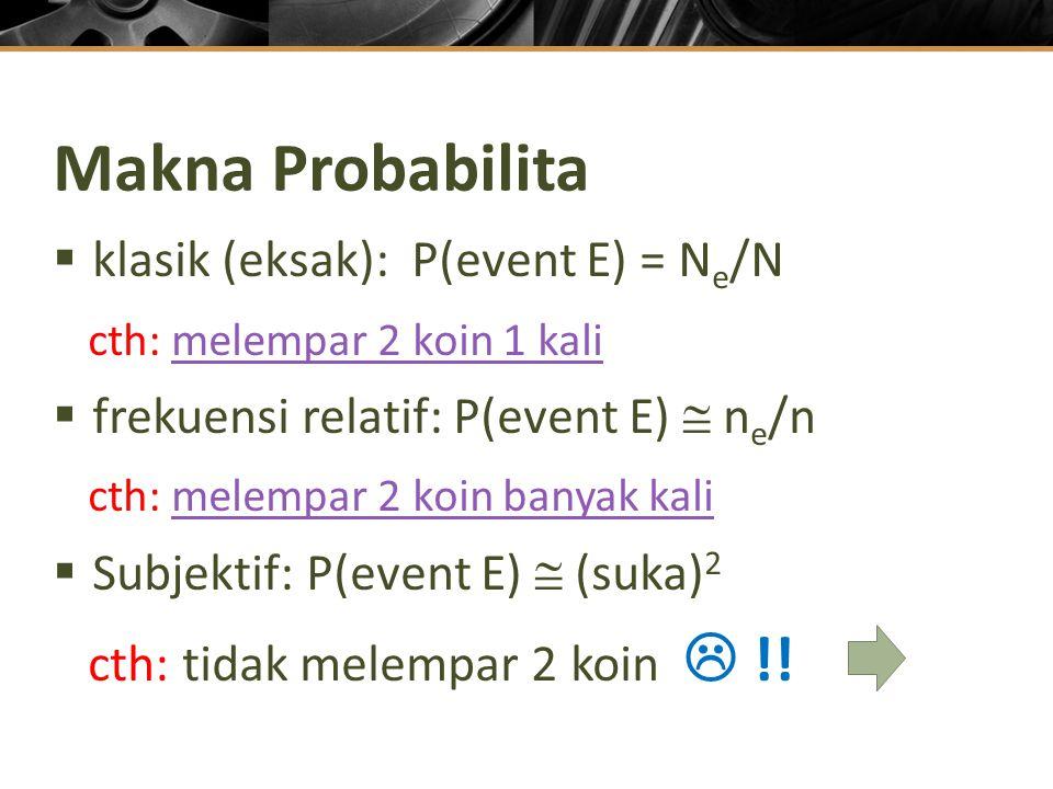 Makna Probabilita  klasik (eksak): P(event E) = N e /N cth: melempar 2 koin 1 kalimelempar 2 koin 1 kali  frekuensi relatif: P(event E)  n e /n cth: melempar 2 koin banyak kalimelempar 2 koin banyak kali  Subjektif: P(event E)  (suka) 2 cth: tidak melempar 2 koin  !!