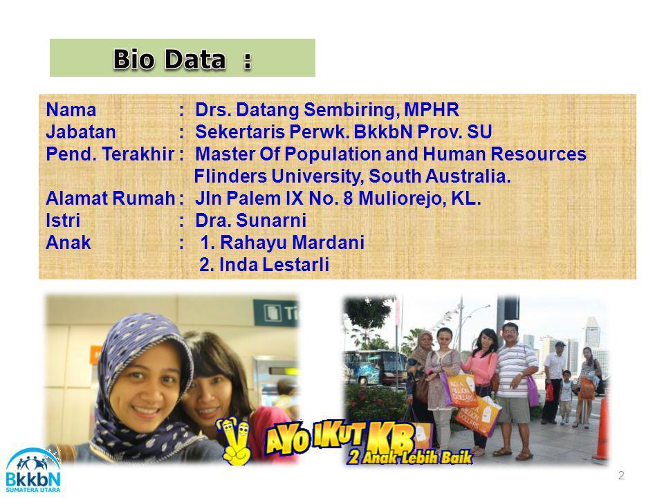 Nama: Drs.Datang Sembiring, MPHR Jabatan: Sekertaris Perwk.