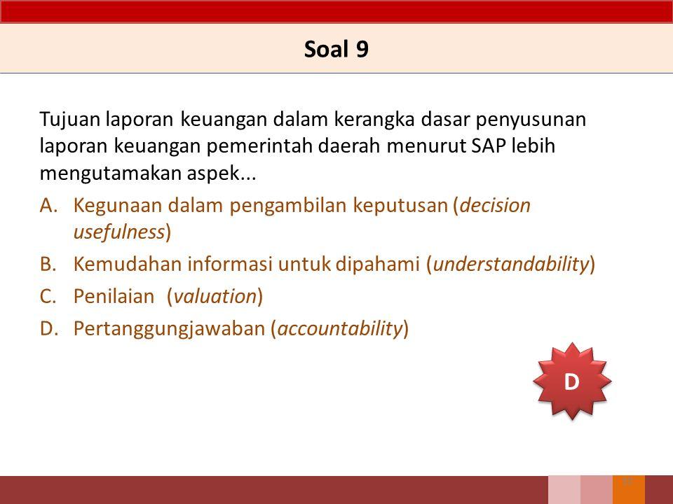 Soal 9 Tujuan laporan keuangan dalam kerangka dasar penyusunan laporan keuangan pemerintah daerah menurut SAP lebih mengutamakan aspek... A.Kegunaan d
