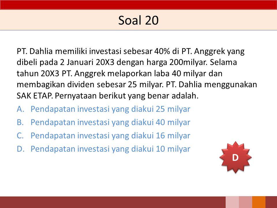 Soal 20 PT. Dahlia memiliki investasi sebesar 40% di PT. Anggrek yang dibeli pada 2 Januari 20X3 dengan harga 200milyar. Selama tahun 20X3 PT. Anggrek
