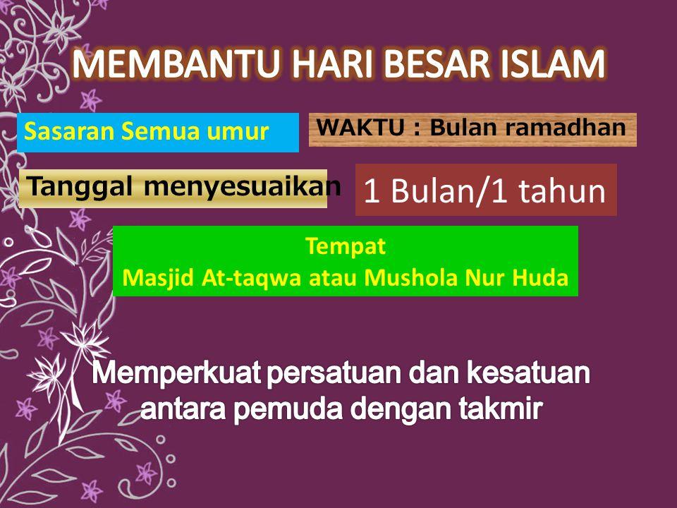 Sasaran Semua umur WAKTU : Bulan ramadhan Tempat Masjid At-taqwa atau Mushola Nur Huda Tanggal menyesuaikan 1 Bulan/1 tahun