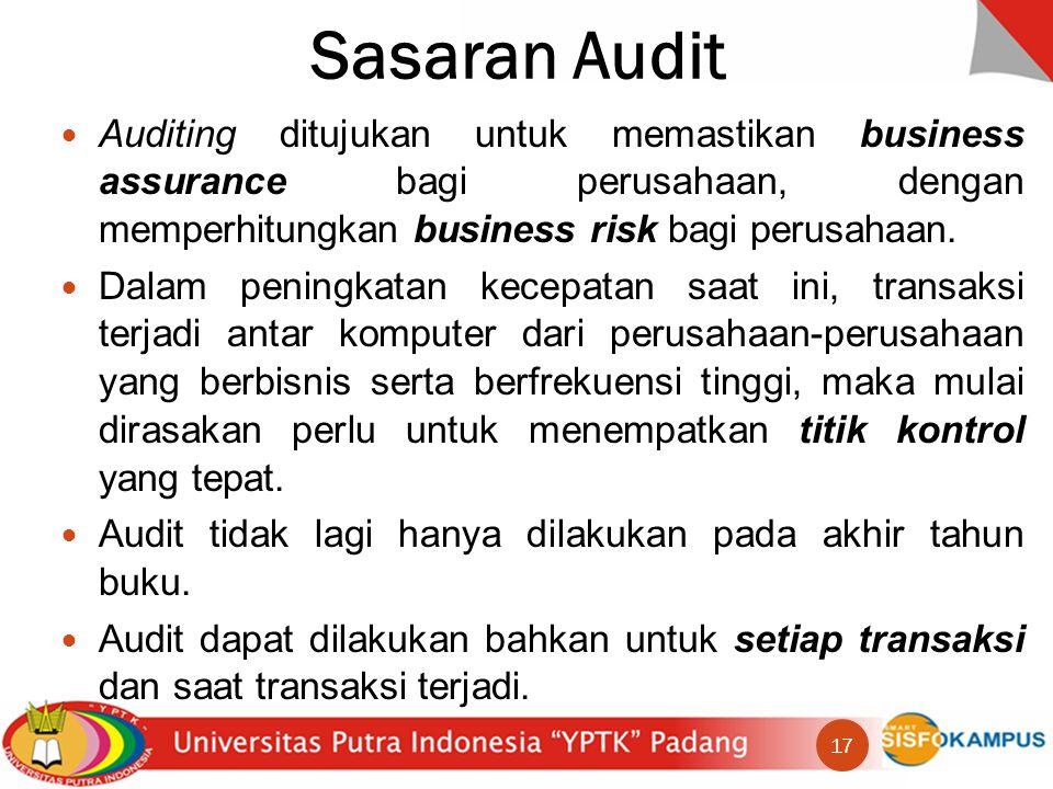 Sasaran Audit Auditing ditujukan untuk memastikan business assurance bagi perusahaan, dengan memperhitungkan business risk bagi perusahaan.