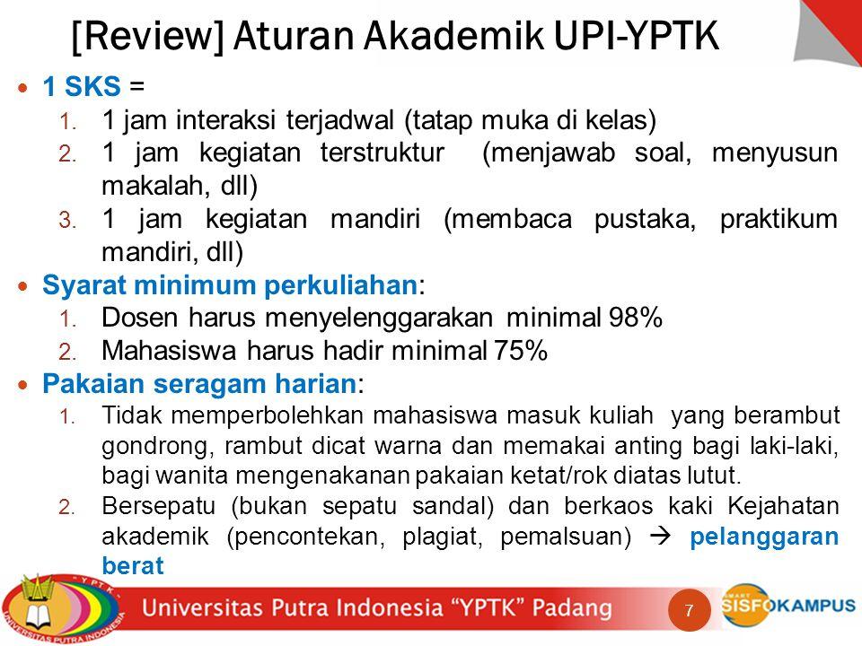 [Review] Aturan Akademik UPI-YPTK 1 SKS = 1.1 jam interaksi terjadwal (tatap muka di kelas) 2.
