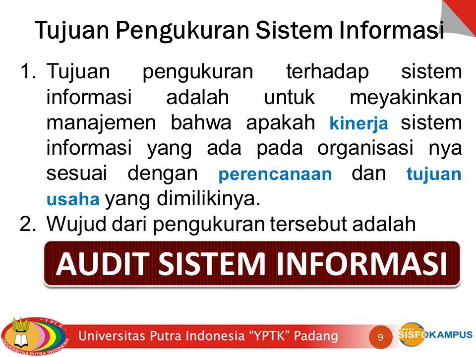 Tujuan Pengukuran Sistem Informasi 1.Tujuan pengukuran terhadap sistem informasi adalah untuk meyakinkan manajemen bahwa apakah kinerja sistem informasi yang ada pada organisasi nya sesuai dengan perencanaan dan tujuan usaha yang dimilikinya.
