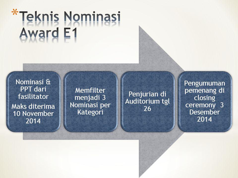 Nominasi & PPT dari fasilitator Maks diterima 10 November 2014 Memfilter menjadi 3 Nominasi per Kategori Penjurian di Auditorium tgl 26 Pengumuman pemenang di closing ceremony 3 Desember 2014