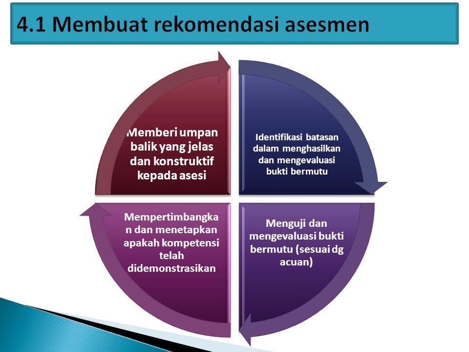 Identifikasi batasan dalam menghasilkan dan mengevaluasi bukti bermutu Menguji dan mengevaluasi bukti bermutu (sesuai dg acuan) Mempertimbangka n dan