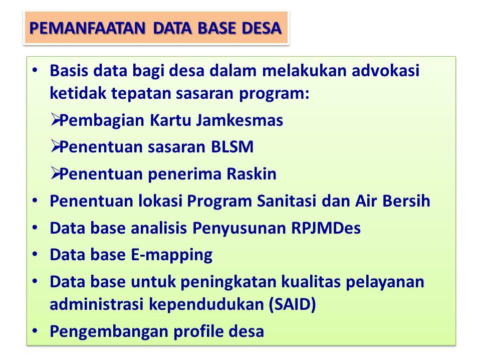 PEMANFAATAN DATA BASE DESA Basis data bagi desa dalam melakukan advokasi ketidak tepatan sasaran program:  Pembagian Kartu Jamkesmas  Penentuan sasaran BLSM  Penentuan penerima Raskin Penentuan lokasi Program Sanitasi dan Air Bersih Data base analisis Penyusunan RPJMDes Data base E-mapping Data base untuk peningkatan kualitas pelayanan administrasi kependudukan (SAID) Pengembangan profile desa Basis data bagi desa dalam melakukan advokasi ketidak tepatan sasaran program:  Pembagian Kartu Jamkesmas  Penentuan sasaran BLSM  Penentuan penerima Raskin Penentuan lokasi Program Sanitasi dan Air Bersih Data base analisis Penyusunan RPJMDes Data base E-mapping Data base untuk peningkatan kualitas pelayanan administrasi kependudukan (SAID) Pengembangan profile desa