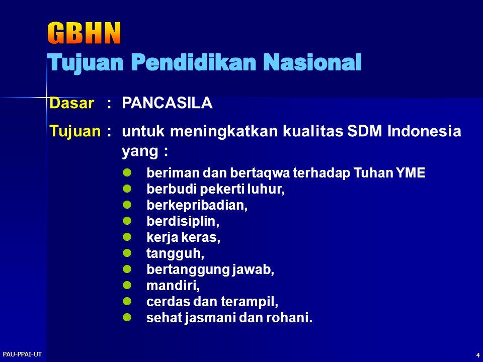 PAU-PPAI-UT 4 Dasar: PANCASILA Tujuan:untuk meningkatkan kualitas SDM Indonesia yang : beriman dan bertaqwa terhadap Tuhan YME berbudi pekerti luhur,