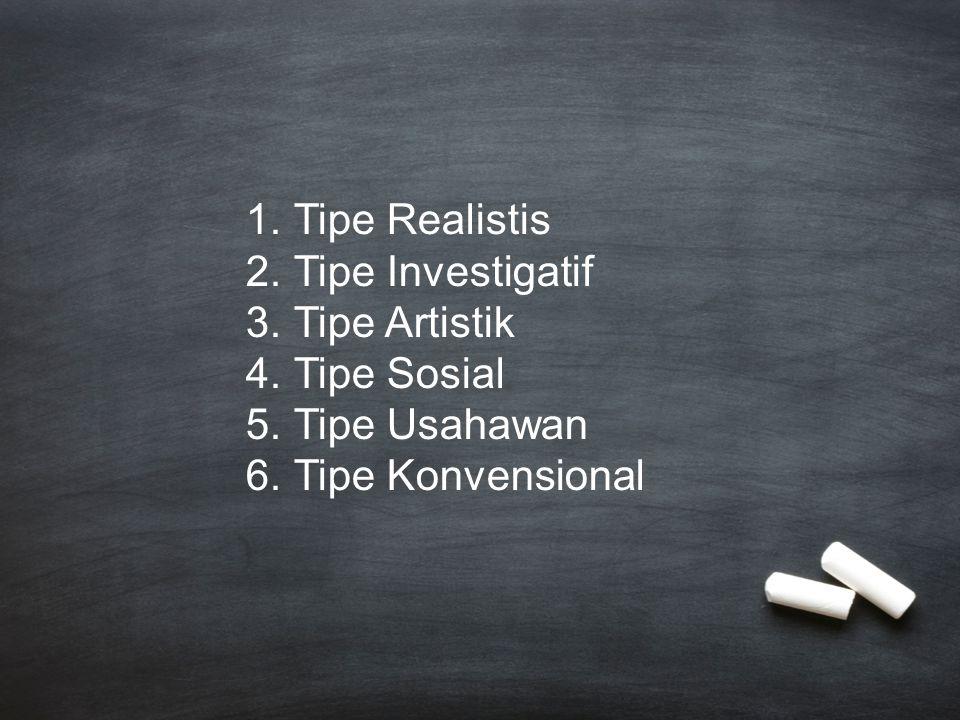 1.Tipe Realistis 2.Tipe Investigatif 3.Tipe Artistik 4.Tipe Sosial 5.Tipe Usahawan 6.