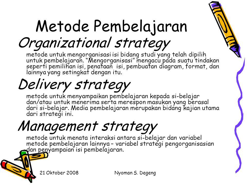 21 Oktober 2008Nyoman S. Degeng Metode Pembelajaran Strategi pengorganisasian (Organizational strategy) Strategi penyampaian (Delivery strategy) Strat