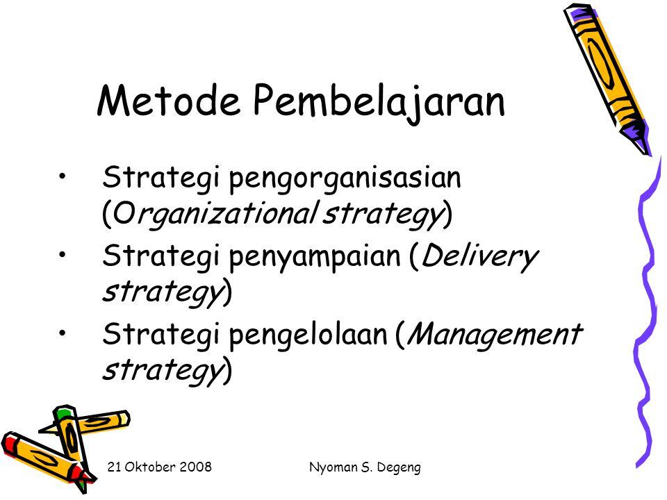 21 Oktober 2008Nyoman S. Degeng Kondisi Pembelajaran Kendala: Keterbatasan sumber-sumber, seperti waktu, media, personalia, dan uang Karakteristik si-