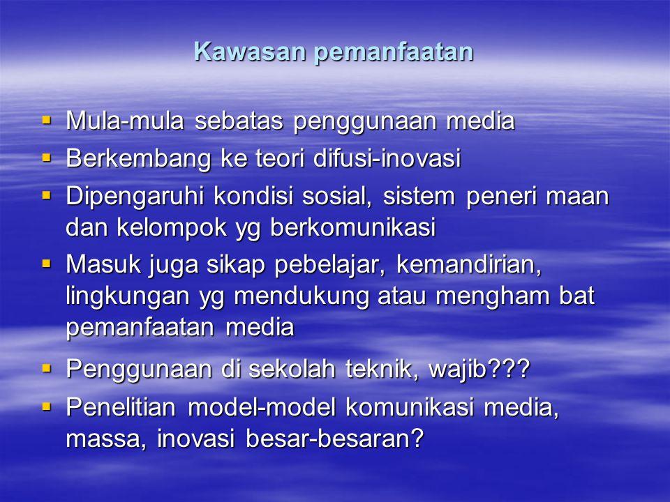 Kawasan pemanfaatan  Mula-mula sebatas penggunaan media  Berkembang ke teori difusi-inovasi  Dipengaruhi kondisi sosial, sistem peneri maan dan kel