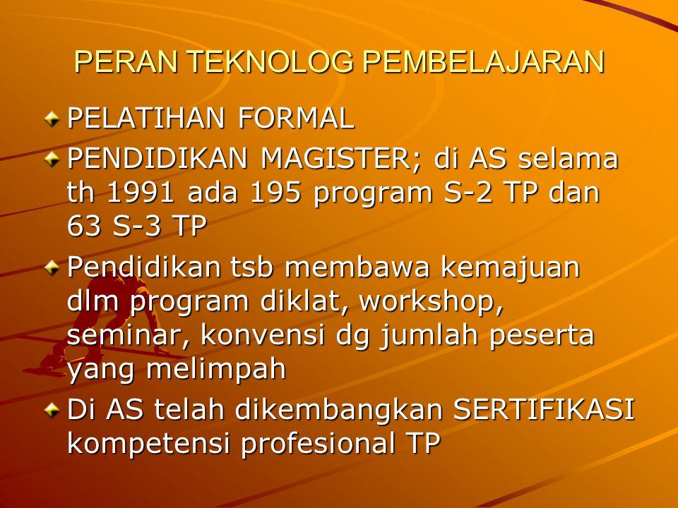 PERAN TEKNOLOG PEMBELAJARAN PELATIHAN FORMAL PENDIDIKAN MAGISTER; di AS selama th 1991 ada 195 program S-2 TP dan 63 S-3 TP Pendidikan tsb membawa kem